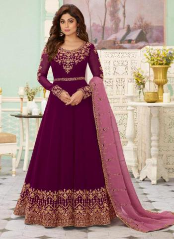 Reception Wear Violet Heavy Embroidery Work Georgette Anarkali Suit