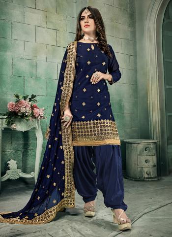 Festival Wear Navy Blue Gota Patti Work Chanderi Silk Patiala Suit
