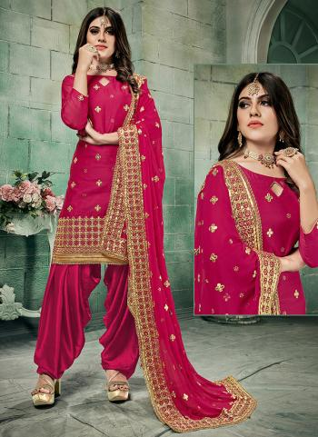 Festival Wear Rani Gota Patti Work Chanderi Silk Patiala Suit