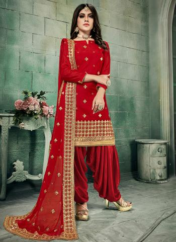 Festival Wear Red Gota Patti Work Chanderi Silk Patiala Suit