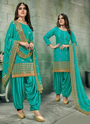Festival Wear Sky Blue Gota Patti Work Chanderi Silk Patiala Suit