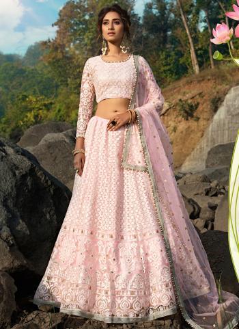 Reception Wear Pink Net Thread Work Lehenga Choli