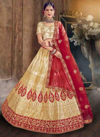 Wedding Wear Red Embroidery Work Satin Silk Lehenga Choli