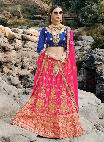 Festival Wear Pink Zari Work Satin Silk Lehenga Choli