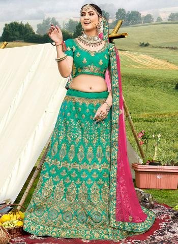 Festival Wear Green Zari Work Banglori Silk Lehenga Choli