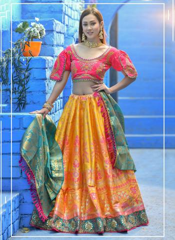 Festival Wear Yellow Resham Work Banarasi Silk Lehenga Choli