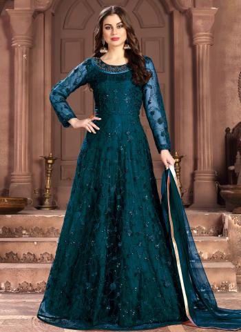 Wedding Wear Rama Net Sequins Work Anarkali Suit