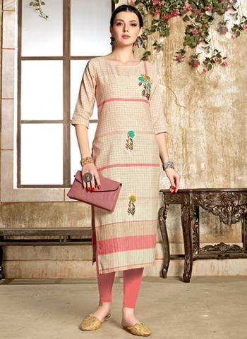Regular Wear Beige And Pink Cotton Embroidery Work Kurti