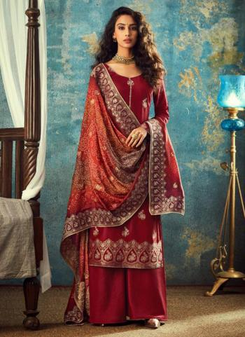 Wedding Wear Red Dola Jacquard Embroidery Work Palazzo Suit