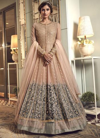 Bridal Wear Peach Net Sequins Work Anarkali Suit