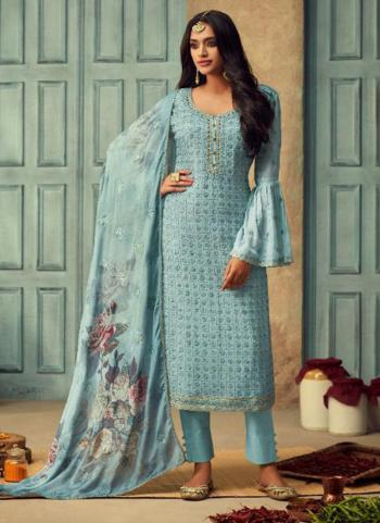 Festival Wear Sky Blue Chinnon Embroidery Work Straight Suit