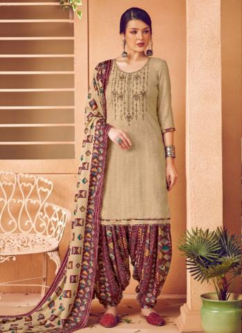 Daily Wear Beige Embroidery Work Pashmina Patiala Suit