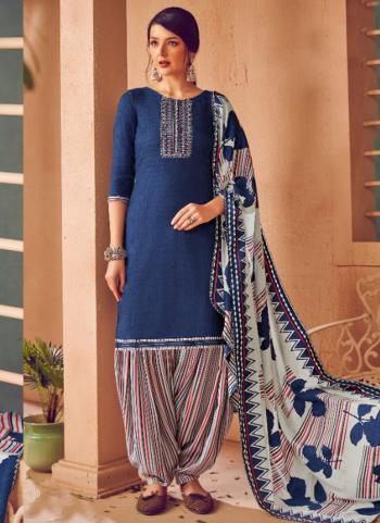 Daily Wear Blue Embroidery Work Pashmina Patiala Suit
