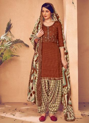 Daily Wear Rust Embroidery Work Pashmina Patiala Suit