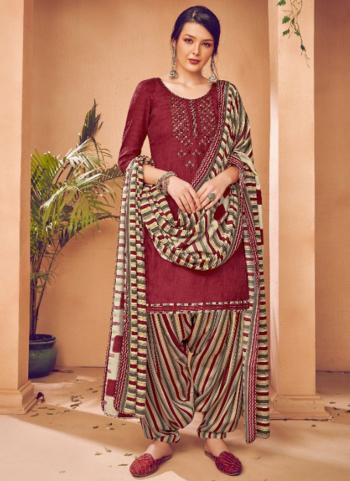 Daily Wear Violet Embroidery Work Pashmina Patiala Suit