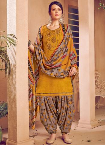 Daily Wear Yellow Embroidery Work Pashmina Patiala Suit