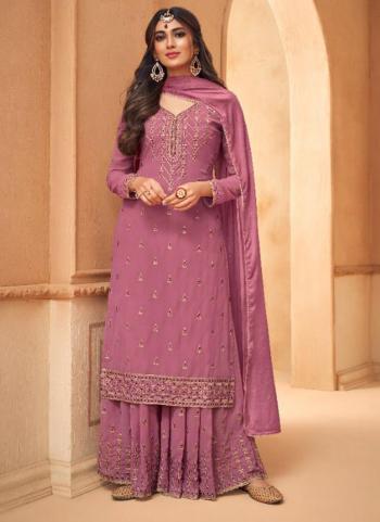 Festival Wear Dark Pink Embroidery Work Georgette Palazzo Suit