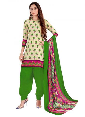 Daily Wear Cream Printed Work Cotton Patiyala Suit
