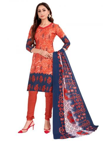 Daily Wear Orange Printed Work Cotton Churidar Suit