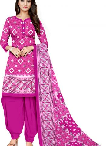 Daily Wear Pink Printed Work Cotton Patiyala Suit