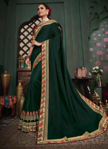 Reception Wear Dark Green Border Work Fancy Silk Saree