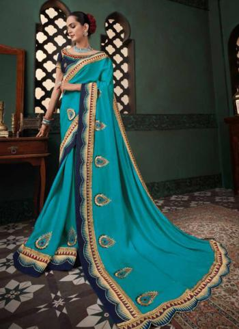 Reception Wear Sky Blue Border Work Fancy Silk Saree