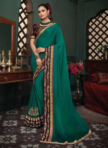 Reception Wear Teal Blue Border Work Fancy Silk Saree