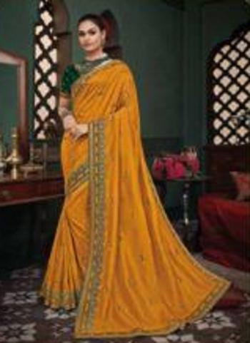 Reception Wear Yellow Border Work Fancy Silk Saree