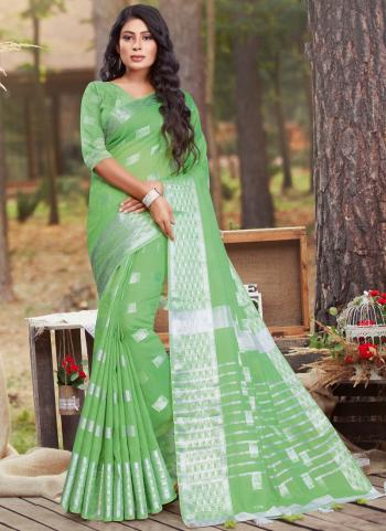 Casual Wear Light green Linen Cotton Saree