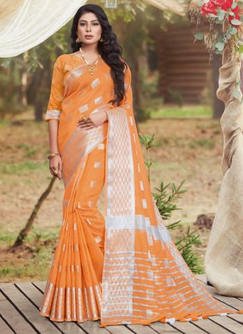 Casual Wear Orange Linen Cotton Saree