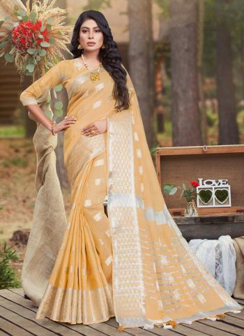 Casual Wear Peach Linen Cotton Saree