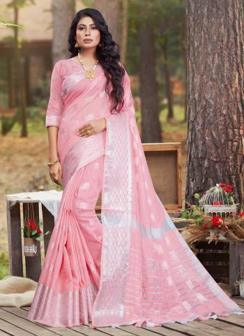 Casual Wear Pink Linen Cotton Saree