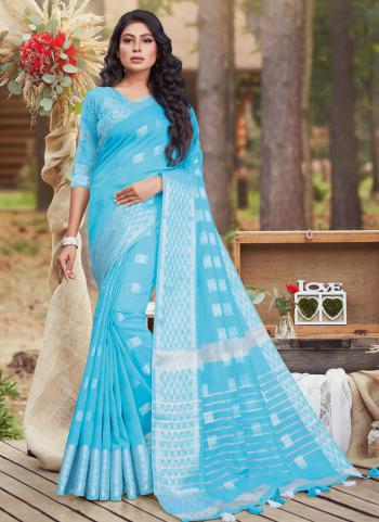 Casual Wear Sky Blue Linen Cotton Saree