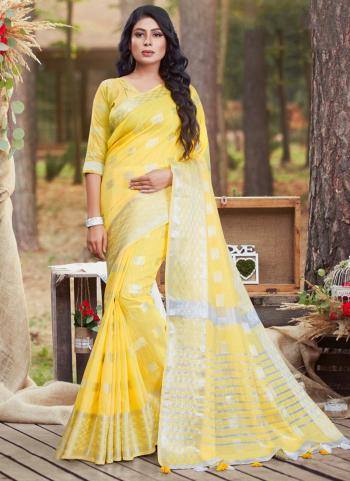 Casual Wear Yellow Linen Cotton Saree
