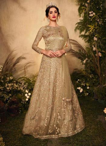 Reception Wear Gold Heavy Embroidery Work Net Anarkali Suit
