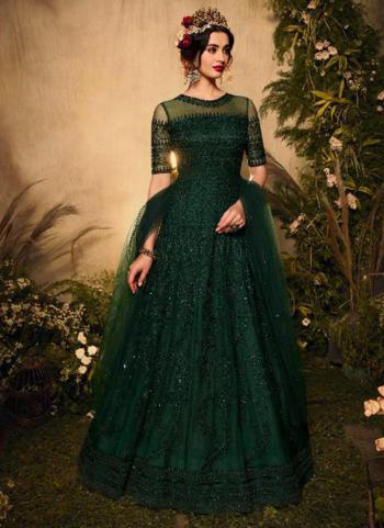 Reception Wear Green Heavy Embroidery Work Net Anarkali Suit