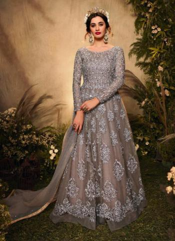 Reception Wear Grey Heavy Embroidery Work Net Anarkali Suit