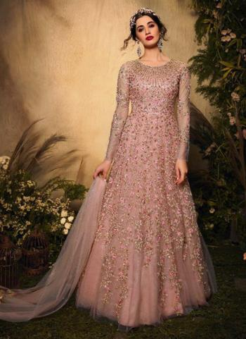 Reception Wear Pink Heavy Embroidery Work Net Anarkali Suit