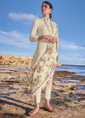 Traditional Wear Cream Embroidery Work Pure Tussar Silk Readymade Salwar Suit