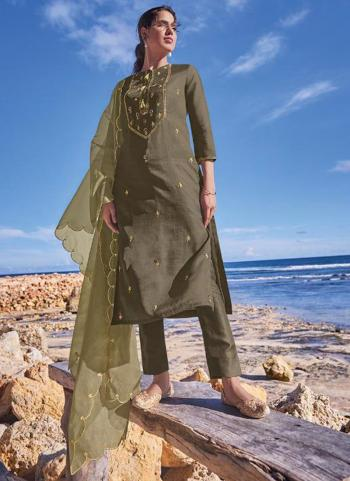 Traditional Wear Olive Green Embroidery Work Pure Tussar Silk Readymade Salwar Suit