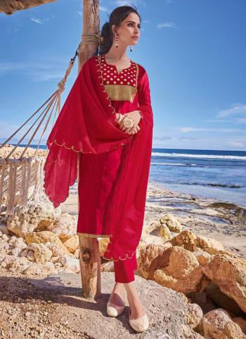 Traditional Wear Red Embroidery Work Pure Tussar Silk Readymade Salwar Suit