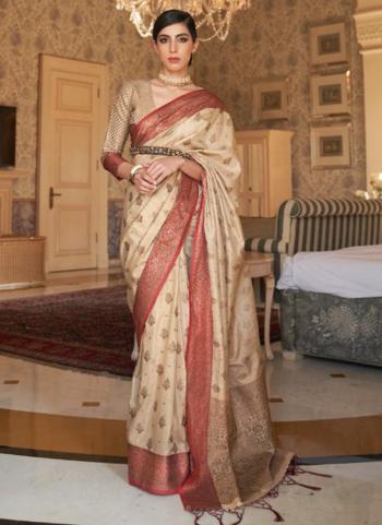 Party Wear Beige Weaving Tussar Silk Saree