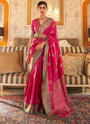 Party Wear Dark Pink Weaving Tussar Silk Saree