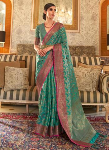 Party Wear Green Weaving Tussar Silk Saree