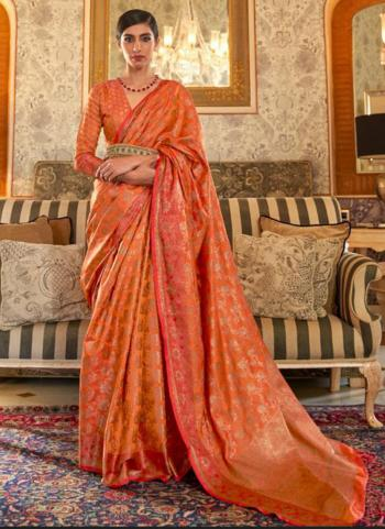 Party Wear Orange Weaving Tussar Silk Saree