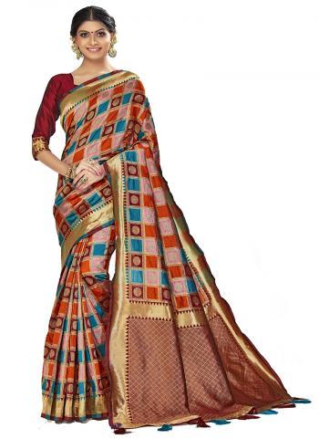Traditional Wear Multi Color Weaving Art Silk Saree