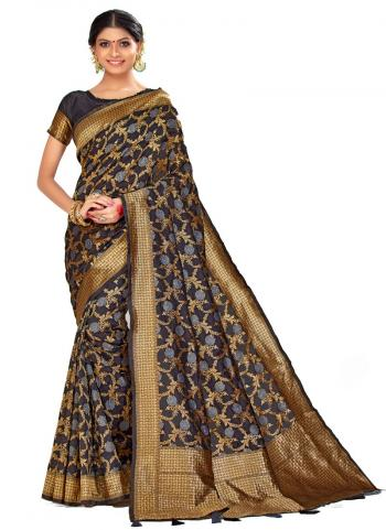 Traditional Wear Navy Blue Weaving Art Silk Saree