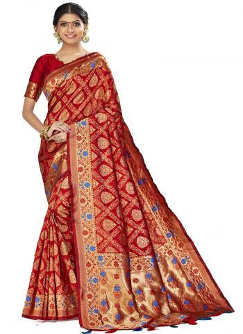 Traditional Wear Red Weaving Art Silk Saree