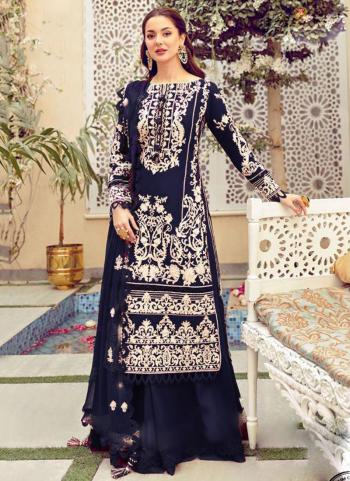 Festival Wear Navy Blue Embroidery Work Heavy Cotton Pakistani Suit