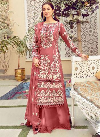 Festival Wear Pink Embroidery Work Heavy Cotton Pakistani Suit